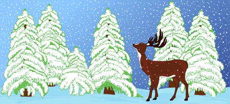 Beautiful vector illustration of a deer in the snow covered winter forest  You can use it as a New Year greetings card or an invitation
