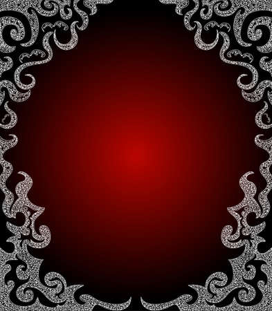 Beautiful luxury red curling frame  Vector
