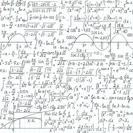 Mathematical vector seamless pattern,  handwritten on the copybook paper