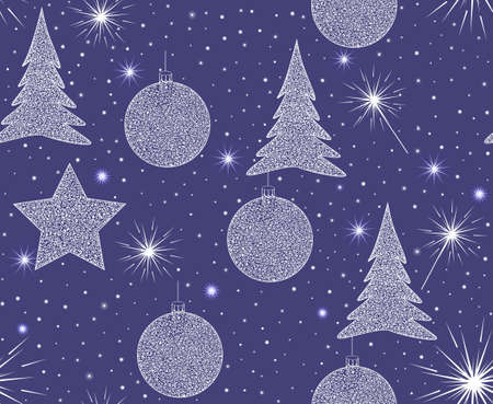 bengal fire: Beautiful blue vector seamless pattern with Christmas trees, decorations and snowflakes  You can use any color of background