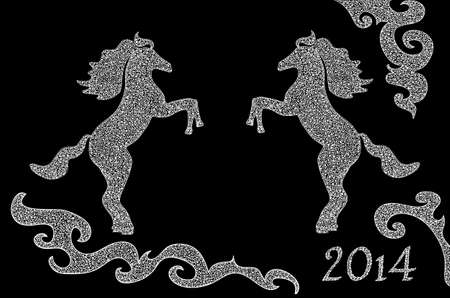 Vector background with two beautiful horses on hind legs  You can use it as a symbol of the upcoming year 2014