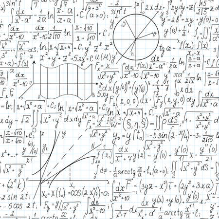 Beautiful mathematical vector seamless pattern with formulas and equations