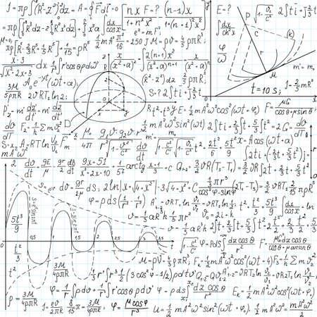 Beautiful physical vector seamless pattern,  handwritten on the copybook paper 版權商用圖片 - 25118312