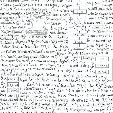assembler: Beautiful technical vector seamless pattern with programming code,  handwritten on the copybook paper