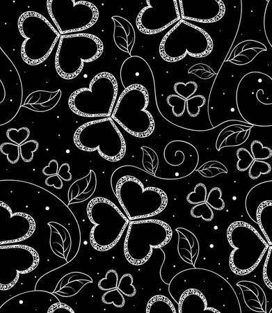Beautiful black and white seamless pattern with clover flowers Vector