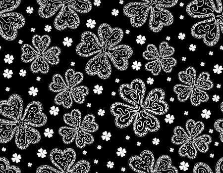 Beautiful seamless pattern with clover leaves