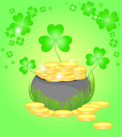 Beautiful illustration with the pot of golden coins and clover