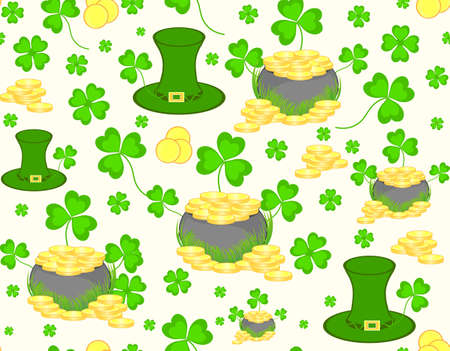 Beautiful seamless pattern with leprechaun hat, clover and golden coins for St Patricks day Vector