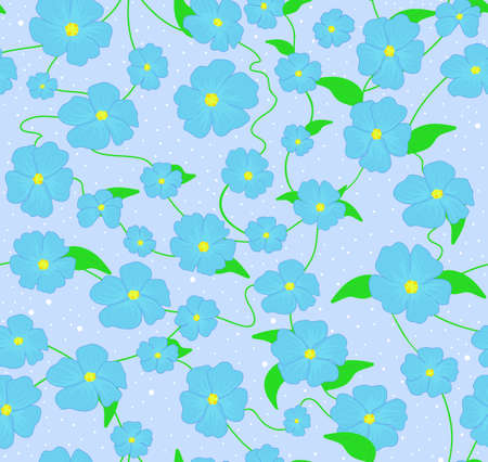 forget: Beautiful spring vector seamless pattern with blue forget me not flowers Illustration