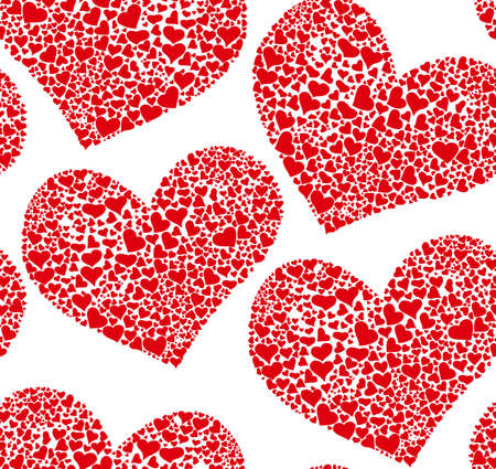 marriage bed: Beautiful seamless pattern with red hearts