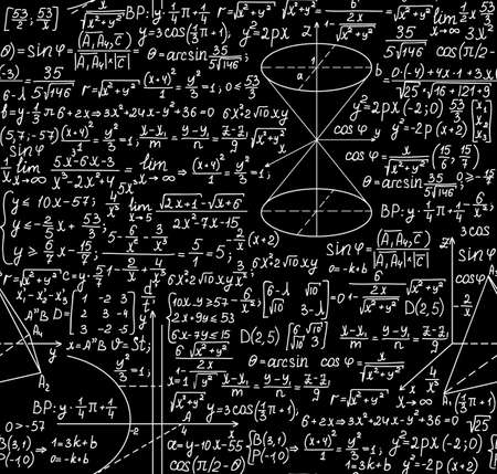 Beautiful black and white mathematical seamless pattern with figures and equations