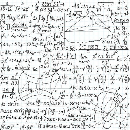 Beautiful mathematical seamless pattern with figures, formulas and equations, handwritten on the copybook paper