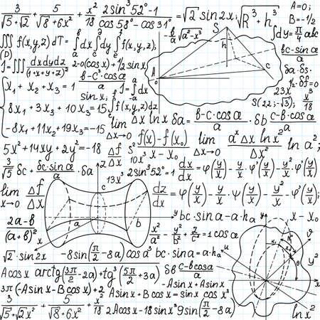 teorema: Hermosa modelo incons�til matem�tica con cifras, f�rmulas y ecuaciones, escrita a mano en el papel de cuaderno