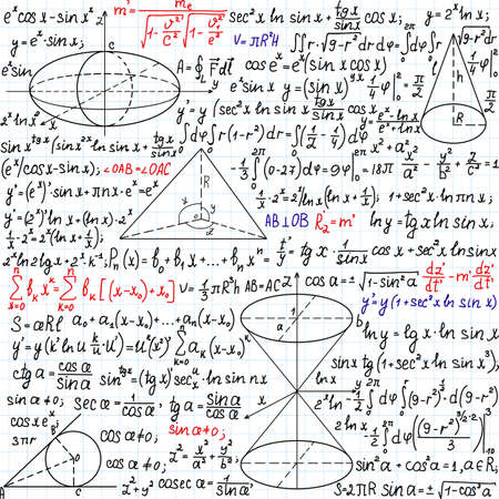 Beautiful mathematical seamless pattern with formulas, figures and task solutions, handwritten on the copybook paper Illustration