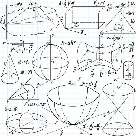 Beautiful seamless pattern with mathematical figures, plots and formulas,handwritten on the copybook paper