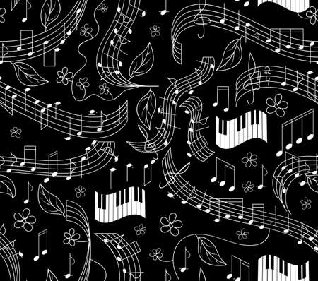 Beautiful musical seamless pattern with notes and piano keyboard Vector