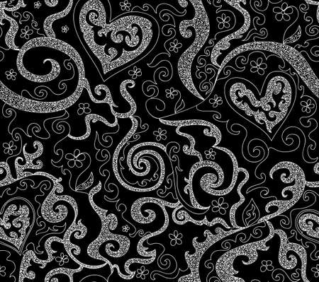 Beautiful spring seamless pattern with curling lines and hearts Illustration