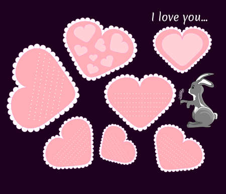 Set of the beautiful valentines cards with cute bunny for the 14th February Vector