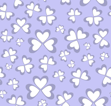 papery: Blue vector seamless pattern with the papery clover leaves