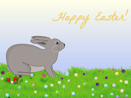 pesah: Beautiful vector illustration with Easter bunny on the spring meadow and the text  Happy Easter