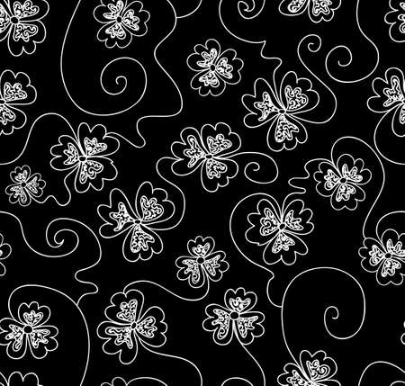 Beautiful black and white vector seamless pattern with figured flowers Vector