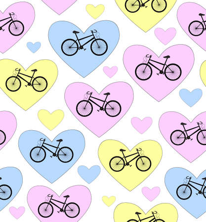 Beautiful colorful vector seamless pattern with bikes and hearts  I love bike   You can use any color of background Vector