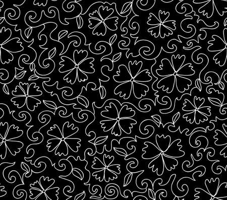 figured: Beautiful black and white vector seamless pattern with figured cornflowers