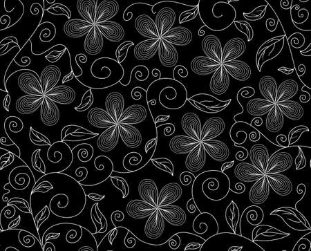 Beautiful vector seamless pattern with figured leaves and flowers Vector