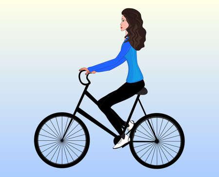 ragazza giovane bella: Bella ragazza su una mountain bike, illustrazione vettoriale