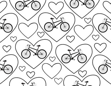treadle: Vector seamless pattern with bikes and hearts,  I love bike   You can use any color of background