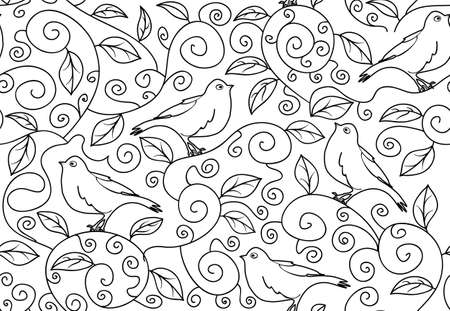 warble: Black and white vector seamless pattern with singing birds