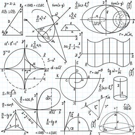 cardioid: Beautiful vector sin patrón, con cifras y gráficos matemáticos, escritas a mano en el papel de cuaderno