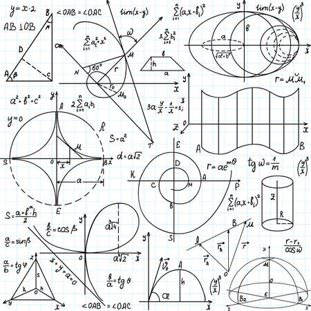 Beautiful vector seamless pattern with mathematical figures and plots,  handwritten on the copybook paper