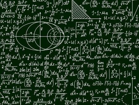 signos matematicos: Vector Matemático sin patrón, con las parcelas y las fórmulas en un fondo verde Vectores