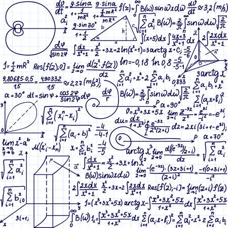 Vector pattern with mathematical formulas, equations and figures