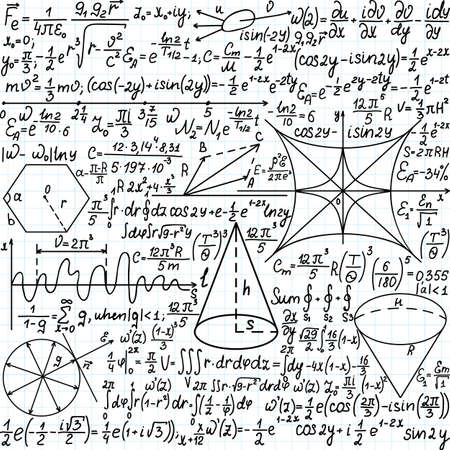 Vector seamless pattern with mathematical equations, plots and figures,  handwritten on the copybook paper