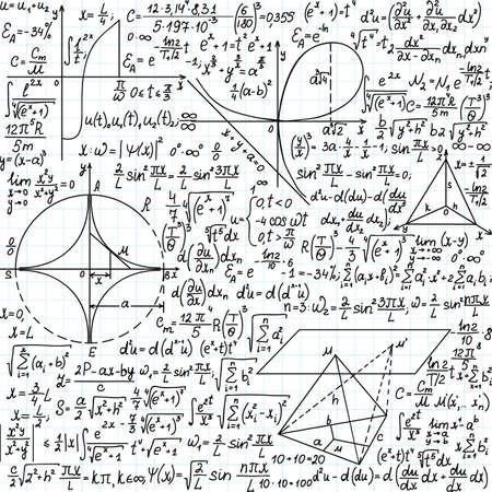 integral: Vector patr�n transparente con f�rmulas matem�ticas, ecuaciones y figuras, escritas a mano en el papel de cuaderno