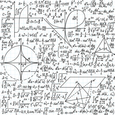 Vector seamless pattern with mathematical formulas, equations and figures,  handwritten on the copybook paper