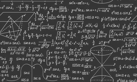 Mathematical vector seamless background with formulas and calculations Vector