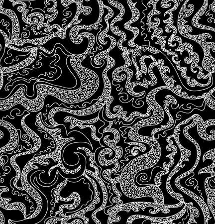 Beautiful black and white abstract vector seamless pattern with curling lines
