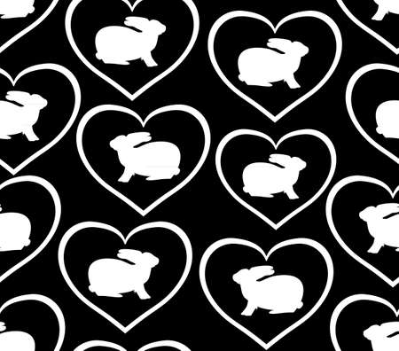 Black and white vector seamless background with bunnies and hearts