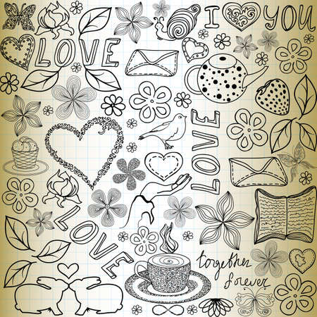 bunny rabbit: Beautiful vector seamless pattern with the words of love, flowers and hearts, handwritten on the old paper