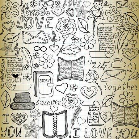 Beautiful vector seamless pattern with words of love, books and letters, \handwritten on the old paper\ Illustration