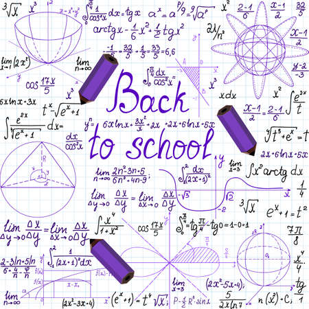 math paper: Vector background with geometrical figures, words \Back to school\ and pencils, handwritten on a copybook paper