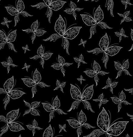 figured: Beautiful vector seamless pattern with figured butterflies Illustration