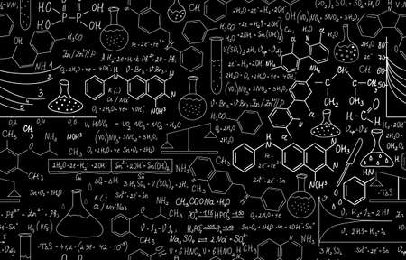 Beautiful chemistry vector seamless pattern with plots, formulas and laboratory equipment