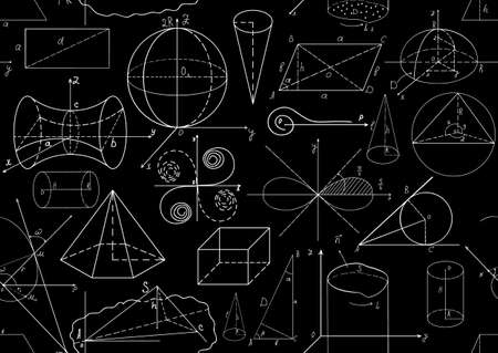 Black and white vector seamless pattern with mathematical figures. You can use any color of background Vector