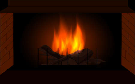 Vector background with fireplace