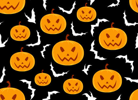Halloween vector seamless pattern with pumpkins and bats Illustration
