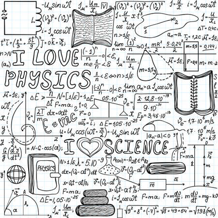 Beautiful vector seamless pattern \\\\\\\\\\\\\\\I love physics\\\\\\\\\\\\\\\, \\\\\\\\\\\\\\\handwritten on a copybook paper\\\\\\\\\\\\\\\ Vector